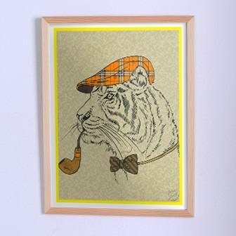 Оригинальный плакат Тигр в образе Шерлока