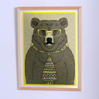 Оригинальный плакат Медведь в галстуке