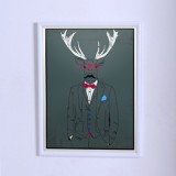 Art poster The deer in suit