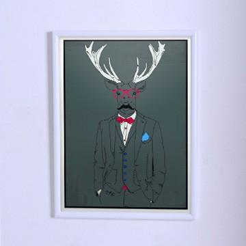 Оригинальный плакат Олень в тройке