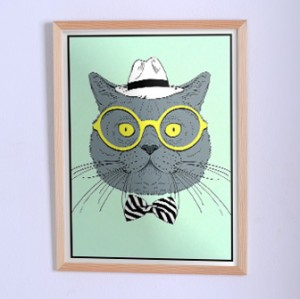 Poster The cat in yellow sunglasses