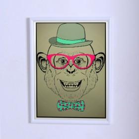 Art poster Monkey-hipster