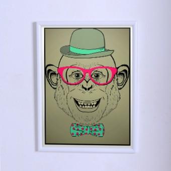 Оригинальный плакат  Мартышка хипстер