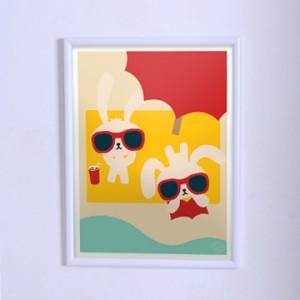 Постер для детской Зайчики на отдыхе