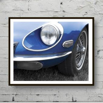 Плакат на стену  Синий автомобиль