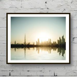 Красивый постер Рассвет над городом