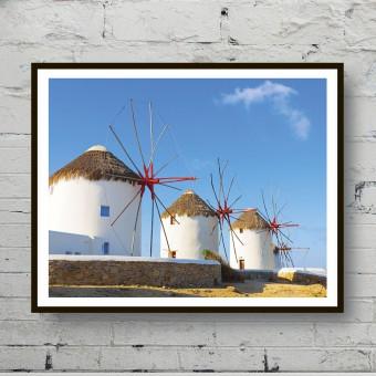 Красивый плакат Ветряные мельницы Санторини