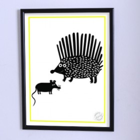 Art poster The hedgehog in shock