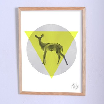 Арт плакат Виниловый олень