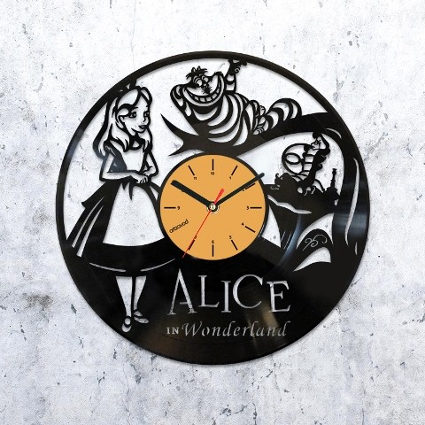 Vinyl clock Alice in Wonderland