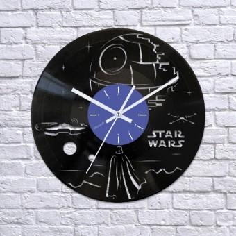 Виниловые часы Дарт Вейдер и Звезда Смерти