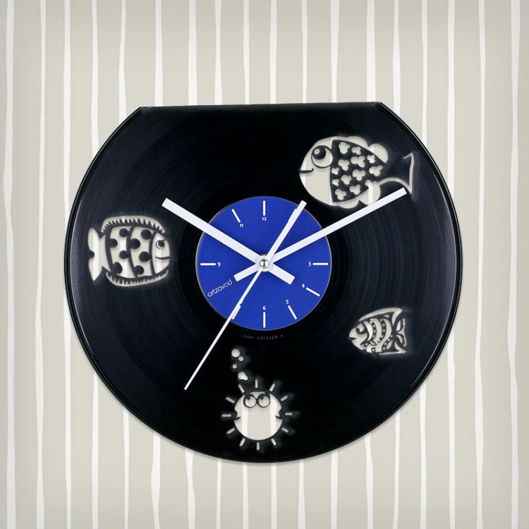 Vinyl clock Fish