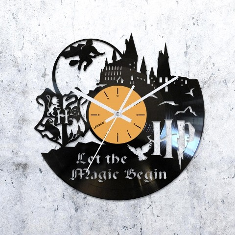 Vinyl clock Harry Potter. Hogwarts