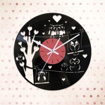Виниловые часы Влюбленные совы