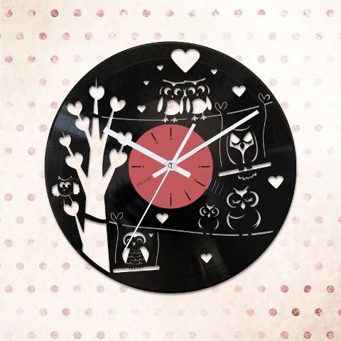 Vinyl clock Owls in love