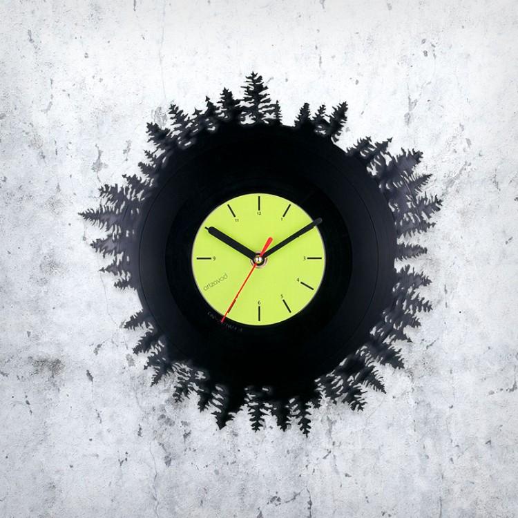 Vinyl clock Wood
