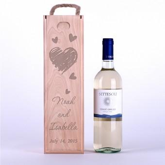 Коробка для вина Сердца карандашом