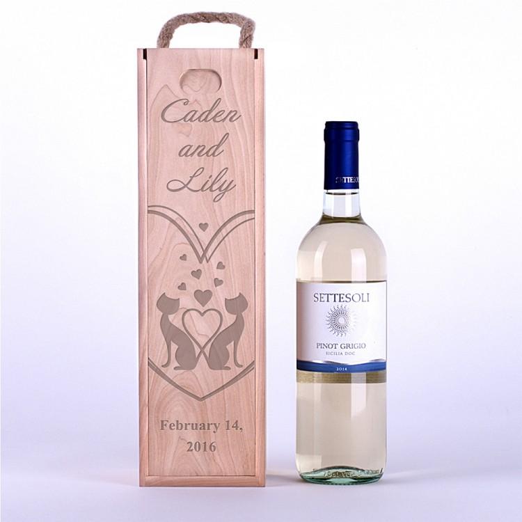 Коробка для вина Влюбленные коты