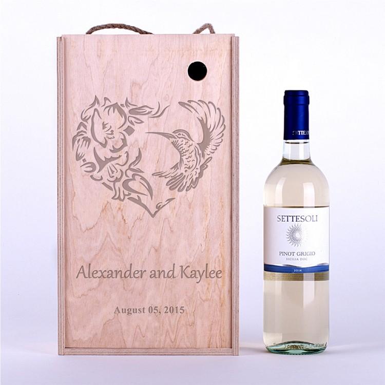 Коробка для вина Колибри и сердце