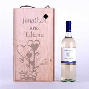 """Wine box """"Hearts in pot"""""""