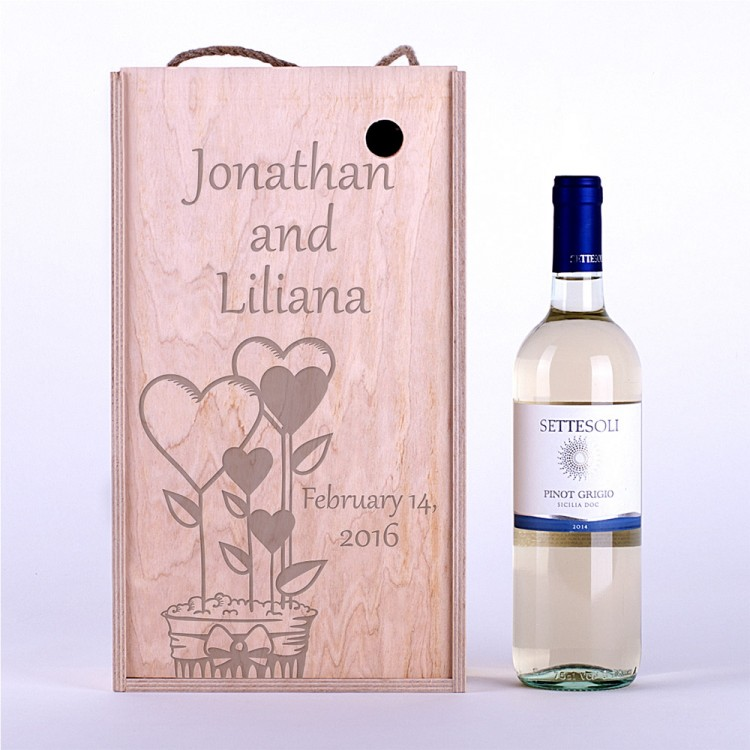 Коробка для вина Сердечки в горшочке